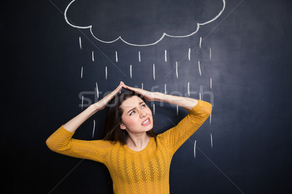 Annoyed woman covering head from rain drawn on chalkboard background  Stock photo © deandrobot