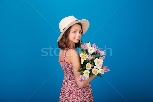 Stockfoto: Gelukkig · mooie · meisje · boeket · bloemen