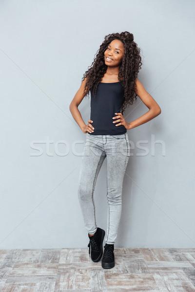 Stock fotó: Teljes · alakos · portré · gyönyörű · afro · amerikai · nő