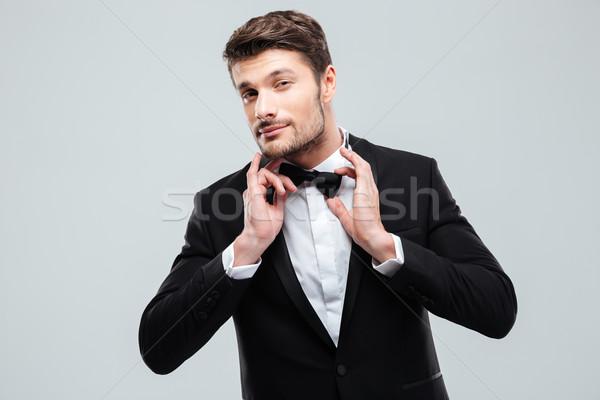 Portret knap jonge man smoking hand werk Stockfoto © deandrobot