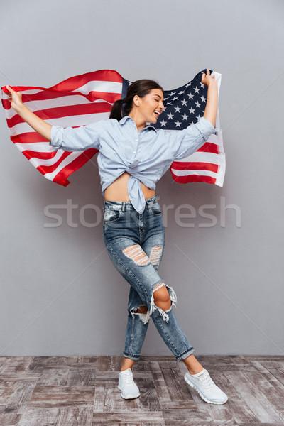 Stok fotoğraf: Gülen · güzel · bir · kadın · ABD · bayrak · yalıtılmış