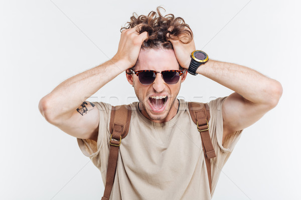 Portre adam eller kafa çılgın Stok fotoğraf © deandrobot