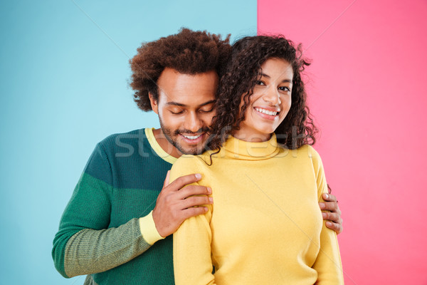 Cute tendre africaine couple permanent Photo stock © deandrobot