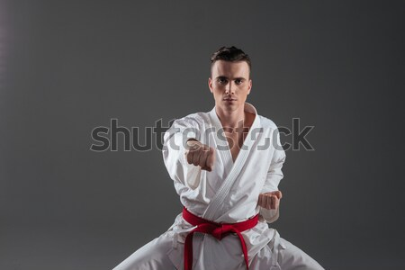 Attractive sportsman dressed in kimono practice in karate Stock photo © deandrobot