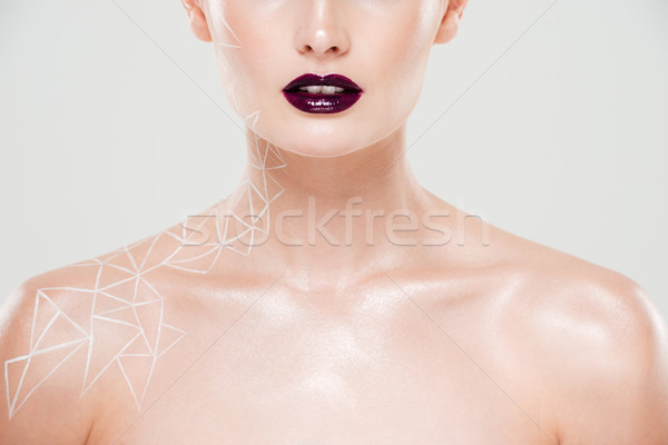 Close up cropped portrait young woman Stock photo © deandrobot