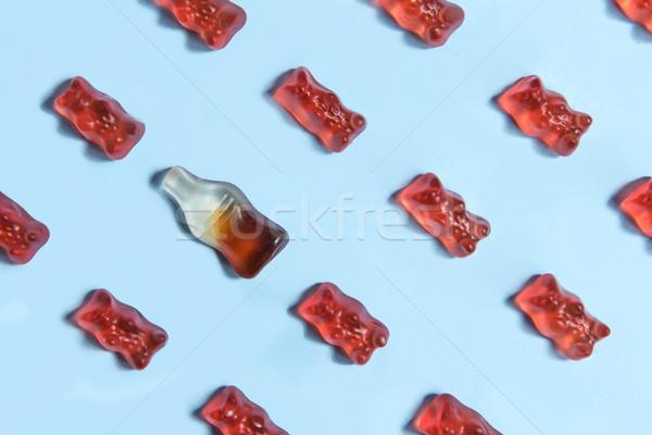 Rág cukorka plüssmaci űrlap kép üveg Stock fotó © deandrobot