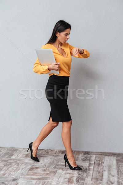 Stok fotoğraf: Dikey · görüntü · iş · kadını · takım · elbise