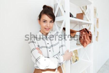 Boldog nő divat illustrator rajz kép Stock fotó © deandrobot