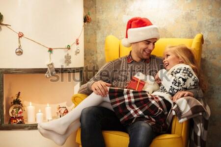 Gelukkig paar ander geschenk uitwisseling Stockfoto © deandrobot