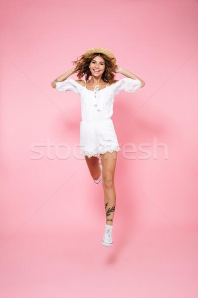 Portret radosny happy girl sukienka lata Zdjęcia stock © deandrobot
