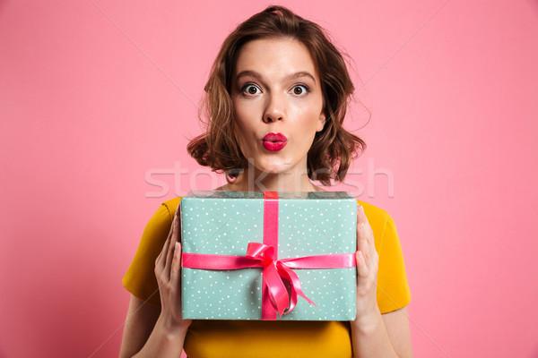 Uimit bruneta femeie luminos machiaj Imagine de stoc © deandrobot
