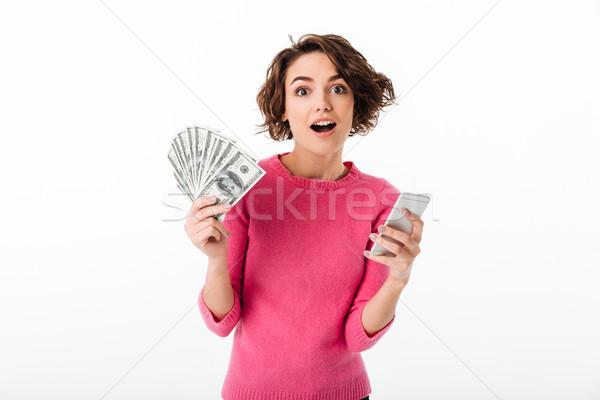 Portret podniecony happy girl ceny Zdjęcia stock © deandrobot