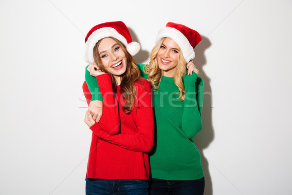 Portrait of two cheery girls dressed in sweaters Stock photo © deandrobot