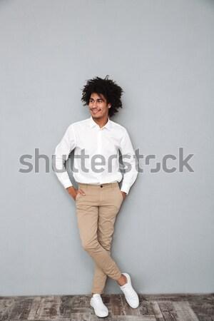 Portret geschokt jonge afro amerikaanse Stockfoto © deandrobot