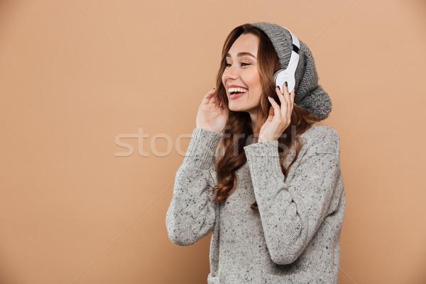 Portret vrolijk jonge vrouw warm hoed trui Stockfoto © deandrobot