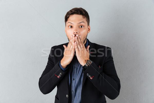 Portré megrémült üzletember befogja száját kezek izolált Stock fotó © deandrobot