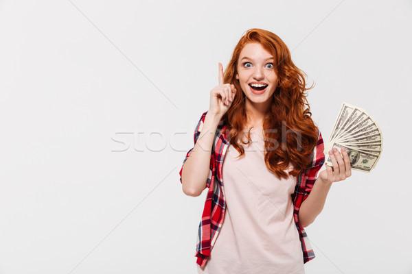 счастливым удивленный имбирь женщину рубашку говорить Сток-фото © deandrobot