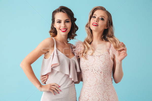 Two cheerful pretty women in dresses posing together Stock photo © deandrobot