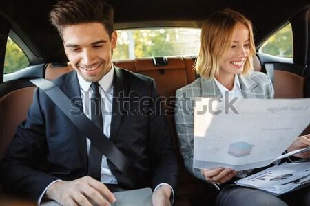 Kettő viccelődés dolgozik iratok iroda boldog Stock fotó © deandrobot