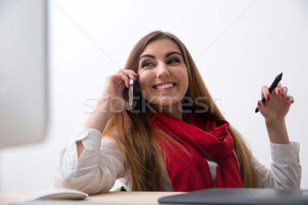 ストックフォト: 肖像 · 女性 · 電話 · 職場