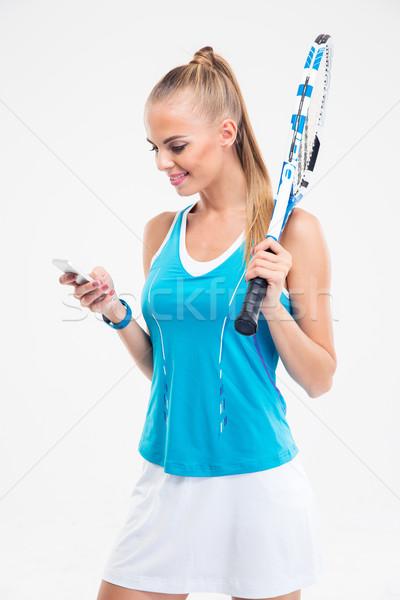 счастливым женщины смартфон портрет изолированный Сток-фото © deandrobot