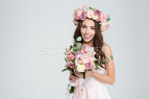 Stok fotoğraf: Gülen · genç · gelin · çiçek · çelenk