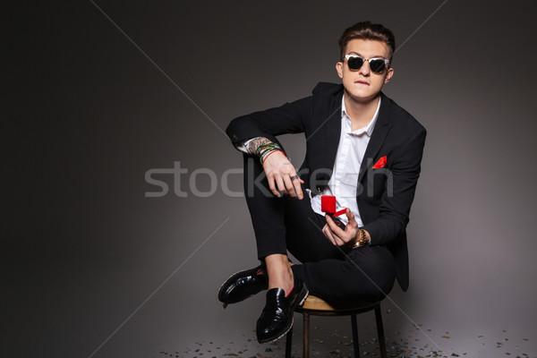 男 ボックス 提案 リング 若い男 ストックフォト © deandrobot