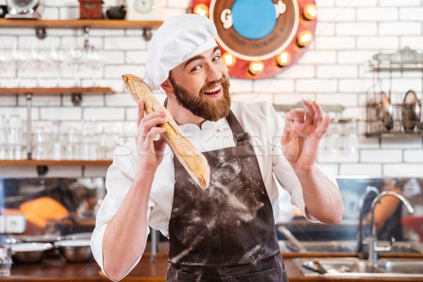 Feliz padeiro pão pão Foto stock © deandrobot