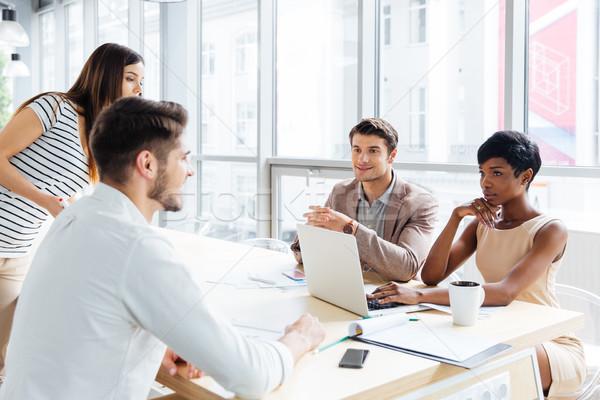 деловые люди говорить служба успешный молодые Сток-фото © deandrobot