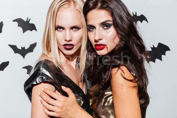 Two beautiful young women with halloween makeup Stock photo © deandrobot