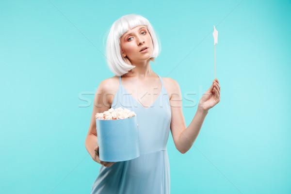 Aranyos szőke nő fiatal nő tart mágikus bot Stock fotó © deandrobot