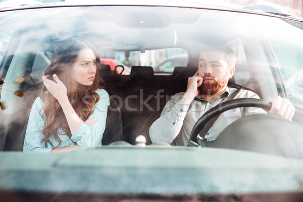 Quarrel of couple in car Stock photo © deandrobot