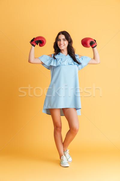 Vrolijk jonge vrouw bokshandschoenen opgeheven handen portret Stockfoto © deandrobot