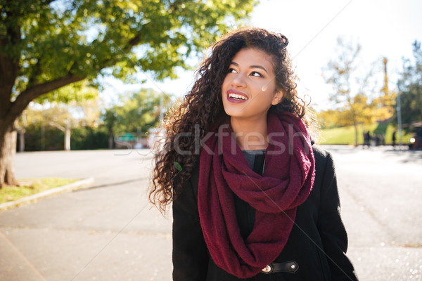 Cheerful young dark skinned curly lady wearing scarf Stock photo © deandrobot