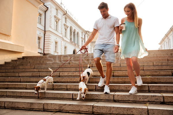 Couple walking down stairs with their dogs on a street Stock photo © deandrobot