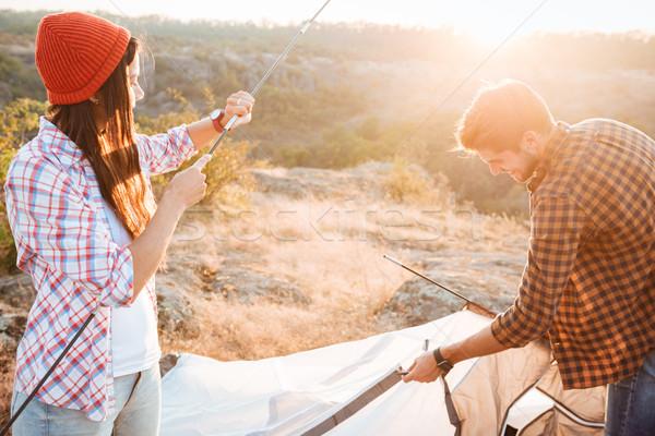 молодые активный пару вверх палатки женщину Сток-фото © deandrobot