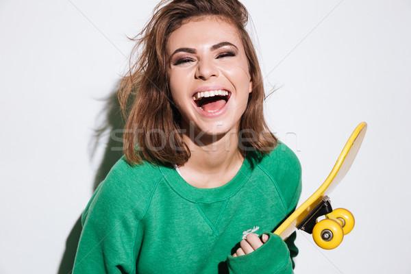 счастливым фигурист Lady скейтборде портрет зеленый Сток-фото © deandrobot