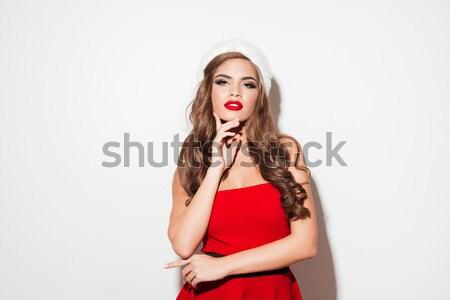 Meisje ondergoed Rood naar camera geïsoleerd Stockfoto © deandrobot