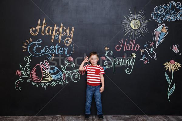 Stok fotoğraf: Gülen · mutlu · küçük · erkek · ayakta
