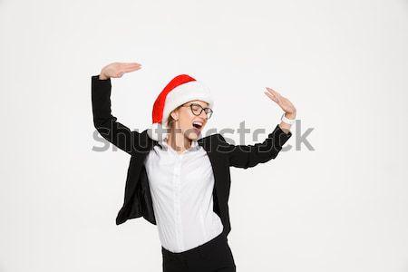 Сток-фото: счастливым · блондинка · деловой · женщины · очки · Рождества · Hat