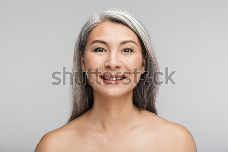 Amazing happy naked elderly woman Stock photo © deandrobot