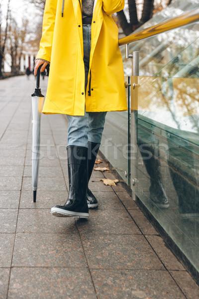 Fotó fiatal nő esőkabát sétál kint ősz Stock fotó © deandrobot