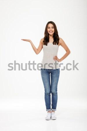 Obraz szczęśliwy kobieta ramię biodro Zdjęcia stock © deandrobot