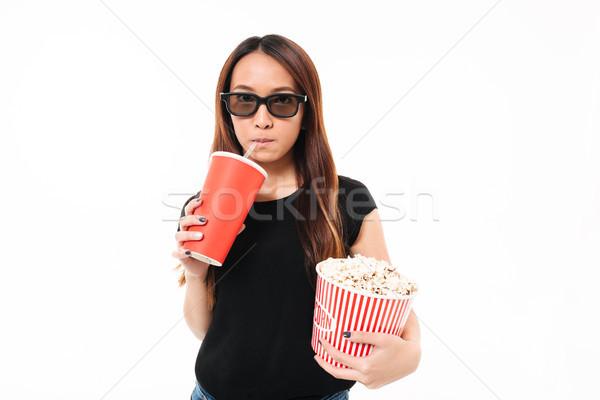 Portre genç Asya kız 3d gözlük içme Stok fotoğraf © deandrobot