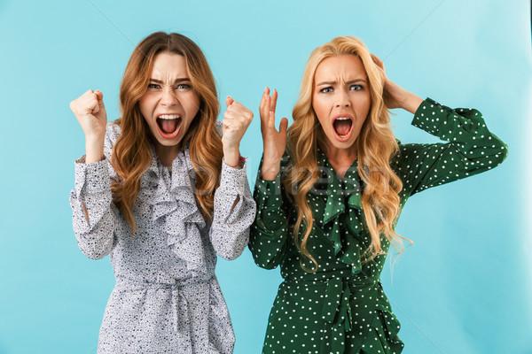 Due confusi donne abiti urlando guardando Foto d'archivio © deandrobot