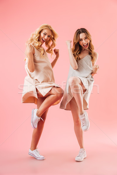 Full length image of Two playful women in dresses rejoices Stock photo © deandrobot