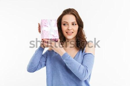 Portre mutlu genç kadın sunmak kutu Stok fotoğraf © deandrobot