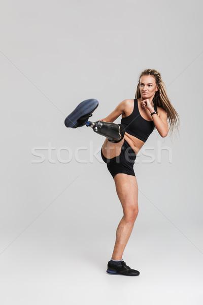 Sterke gezonde jonge gehandicapten bokser vechter Stockfoto © deandrobot
