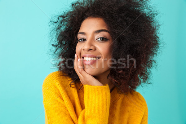 Multicolor portrait of splendid curly woman in yellow shirt look Stock photo © deandrobot