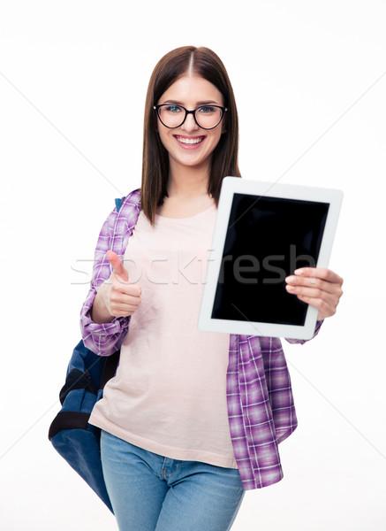женщину экране большой палец руки вверх Сток-фото © deandrobot